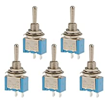 5 x On-Off-On Mini Toggle Switch Round Handle 2P Blue