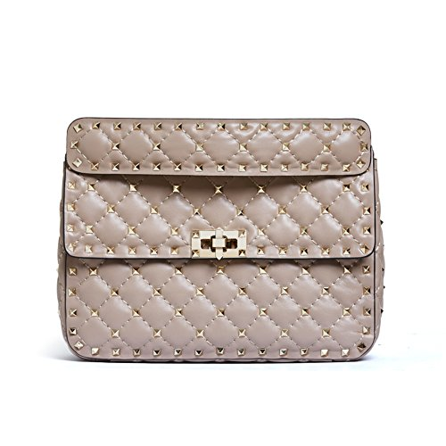 Ainifeel Women's Quilted Studded Genuine Leather Top Handle Handbags And Purses With Chain Strap (Medium, Apricot) by Ainifeel Quilted&Chain Strap Collection