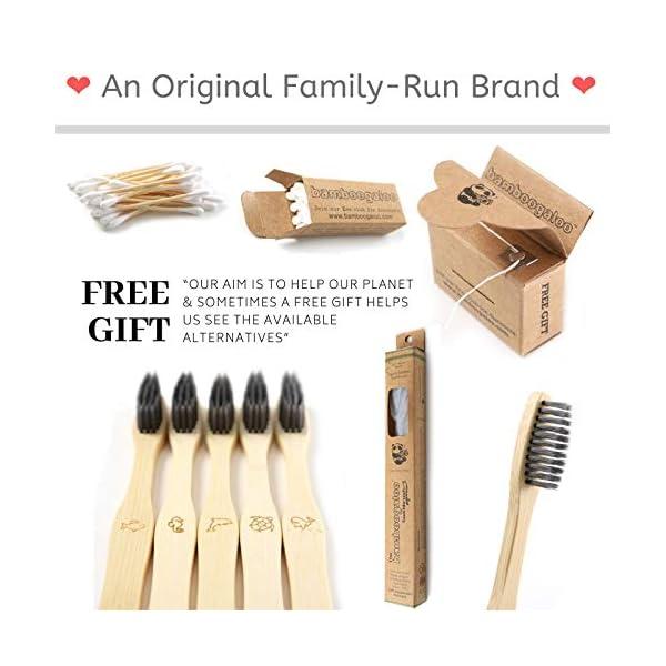 Bamboogaloo Brosses à dents en Bambou- Poils de Charbon Doux- Écologique, Lot de 7, Avec Cadeau de Bourgeons de Coton en…