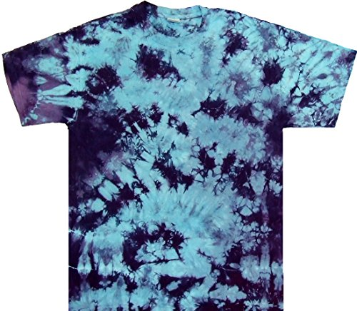 Tie Dye Shop Blue Purple Crinkle Tie Dye Shirt-Shortsleeve-2X-Multicolored - Dyed Cotton Short Sleeve Tee