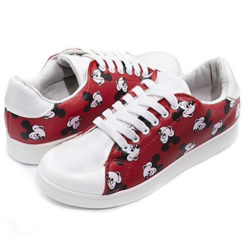 Disney Disney Classic Mickey FACE Faux Leather LACE UP Fashion Sneaker RED (Disney Mickey Round Charm)