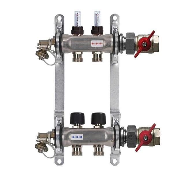 Buderus Heizkreisverteiler Fu/ßbodenheizung HVE-FD-AK mit Durchflussmengenmesser f/ür 2 bis 16 Heizkreise 300 mm Heizkreise//Baul/änge:2 HK