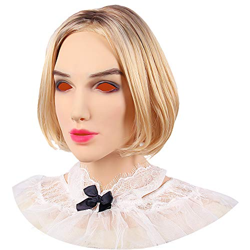 (Soft Silicone Realistic Female Head Mask Hand-Made Face for Crossdresser Transgender Halloween Costumes 3G)