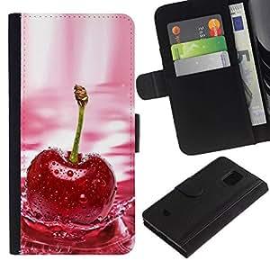 All Phone Most Case / Oferta Especial Cáscara Funda de cuero Monedero Cubierta de proteccion Caso / Wallet Case for Samsung Galaxy S5 Mini, SM-G800 // CHERRY SPLASH