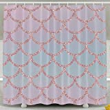Hot Pink and Brown Shower Curtain Mermaid Fish Scale Pink Waterproof Polyester Fabric Bath Shower Curtain Bathroom Waterproof Curtain 60