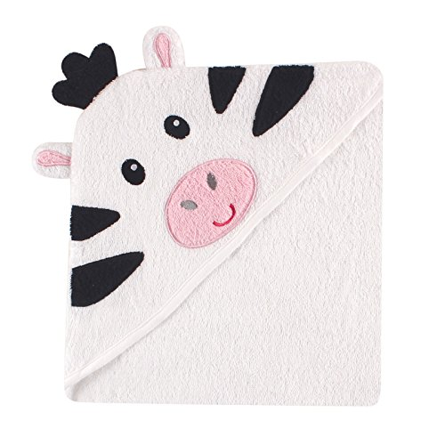 Luvable Friends Animal Face Hooded Towel, Zebra