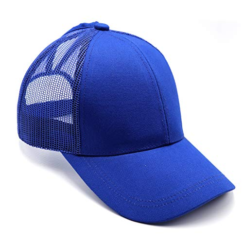 (Lvaiz Ponycap Messy High Bun Ponytail Adjustable Mesh Trucker Baseball Cap Hat for Women)
