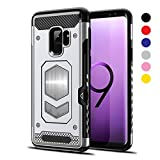 Jazliv [Gun Metal Series] Heavy Duty Protector [Wireless Charging Ready]+[Magnetic Car Mount Ready] with Slim Card Holder (Wallet), Raised TPU for Screen Protection (Silver) Compatible with Galaxy S9