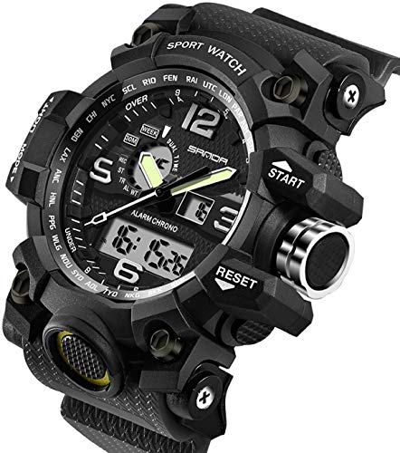 Analog Military - Men's Watches Military Sports Electronic Waterproof LED Stopwatch Digital Analog Dual Display Outdoor Army Wrist Watch Tactical