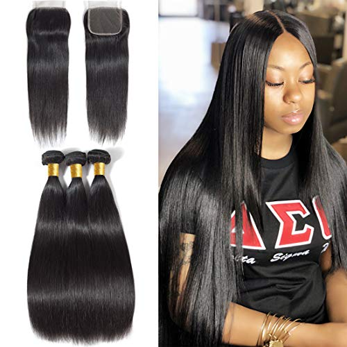 Unprocessed Brazilian Straight Hair 3 Bundles with Closure Grade 10A Virgin Human Hair Extensions Natural Black Color (Best Virgin Human Hair Extensions)