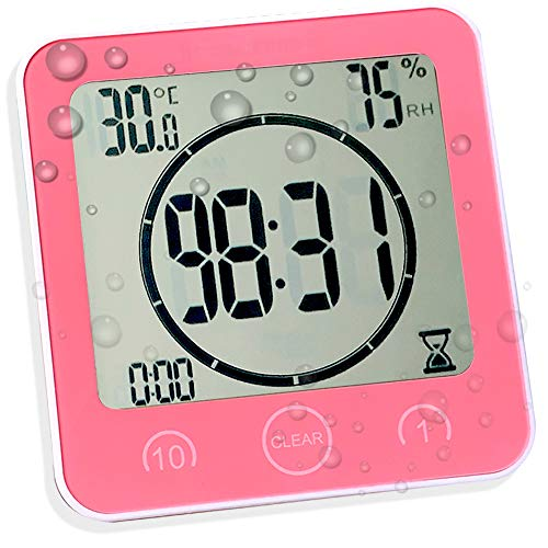 - Digital Shower Wall Clock with Timer Temperature Humidity Monitor, Waterproof Bathroom Clocks for Water Spray, Digital Alarm Clock Mirror Suction [Touch Screen] [No Falling Wall Mounted] (Pink)
