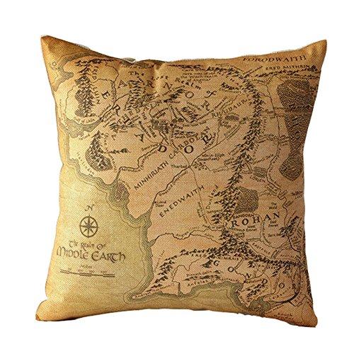 bluelan hyha cojín el Señor de los anillos (lino y algodón sofá doble espadas mapa sofá dormitorio casa manta decorativa almohada