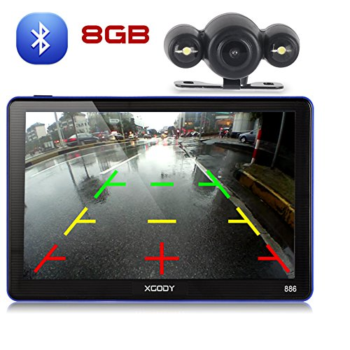 Xgody 886BT Car GPS Navigation with 6M Backup Camera Sunshade 7'' 256MB/ 8GB Capacitive Touch Screen SAT NAVI Spoken Turn-By-Turn Directions Lifetime Map Updates Speed Limit Displays