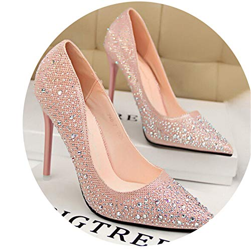 Classic Sequined Shallow Women High Heels Sexy Pointed 10cm Wedding Shoes Party Women Shoes Pink
