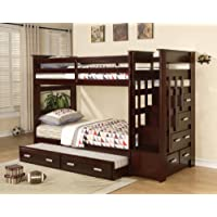 Acme Furniture Over Twin Bunk Bed Ladder Trundle Espresso Finish Youth Allentown