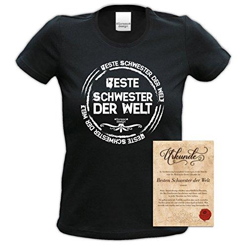 Damen Mädchen Girlie Fun-T-shirt Top Geschenk zum Geburtstag mit GRATIS Urkunde - Beste Schwester der Welt Farbe: schwarz Gr: XL