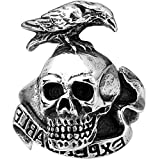 XAHH Men's Fashion Vintage Gothic Tribal Biker Crow Skull Stainless Steel Large Ring Band Silver Black 12
