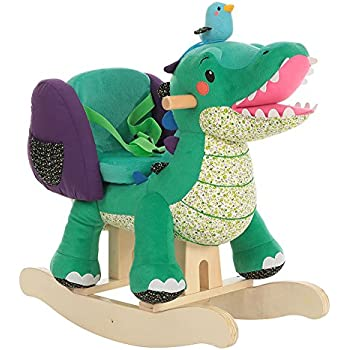 Labebe Wooden Rocking Horse for Toddler, Boy & Girl, Rocking Animal/Rocker/Ride-on Toy for 0-36 months old, High Rack Stuffed Animal Seat, Indoor&Outdoor Toy, Creative Birthday Gift - Green Crocodile