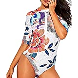 x large air conditioner covers - ZLOLIA Women Rashguard Long Sleeve Zip UV Protection Print Surfing Swimsuit Swimwear (XL, White)