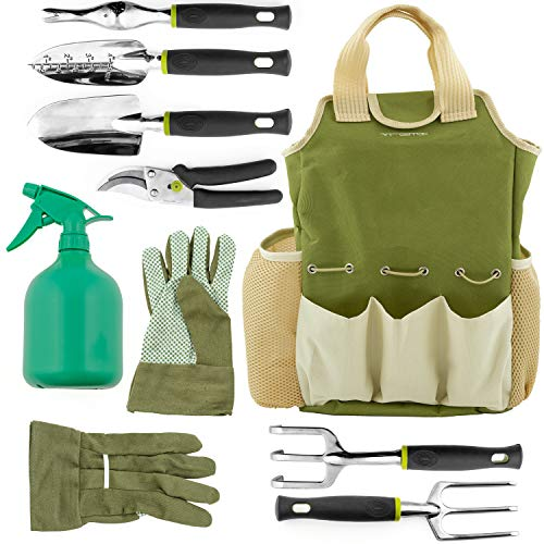 Vremi 9 Piece Garden Tools Set - Gardening Tools with Garden Gloves and Garden Tote - Gardening Gifts Tool Set with Garden Trowel Pruners and More - Vegetable Herb Garden (Shears Gift Set)