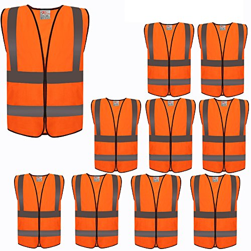 ZOJO High Visibility Reflective Vests,Adjustable Size,Lightweight Mesh Fabric, Wholesale Safety Vest for Outdoor Works, Cycling, Jogging, Walking,Sports - Fits for Men and Women (10Pack, Neon Orange)