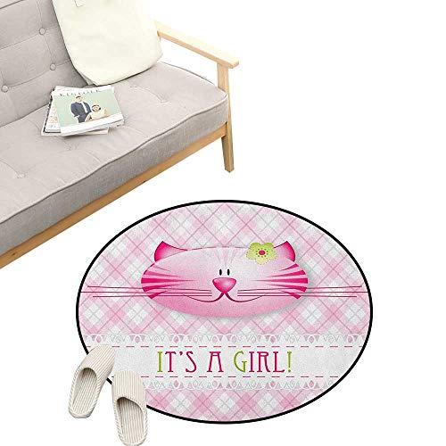 Gender Reveal Round Rug ,Its a Girl Message Happy Cat Kitten Little Flower Retro Pattern, Flannel Microfiber Non-Slip Soft Absorbent 23
