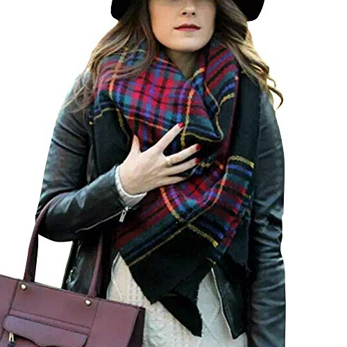 - Bess Bridal Women's Plaid Blanket Winter Scarf Warm Cozy Tartan Wrap Oversized Shawl Cape