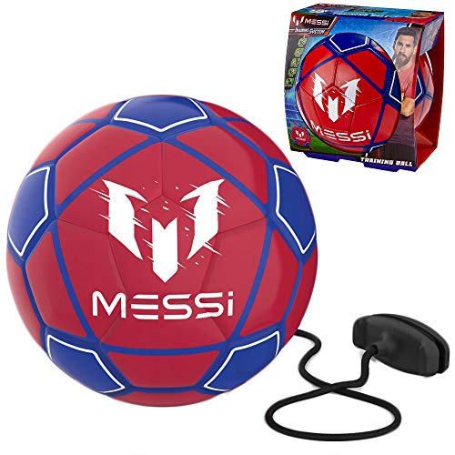 (Messi Training System Kids Training Soccer Ball - Size 3 Youth Smart Football with Tether for Juggling, Foot Control, Kicking Practice - Adjustable Cord - Outdoor Soccer Equipment (Blue/Red))