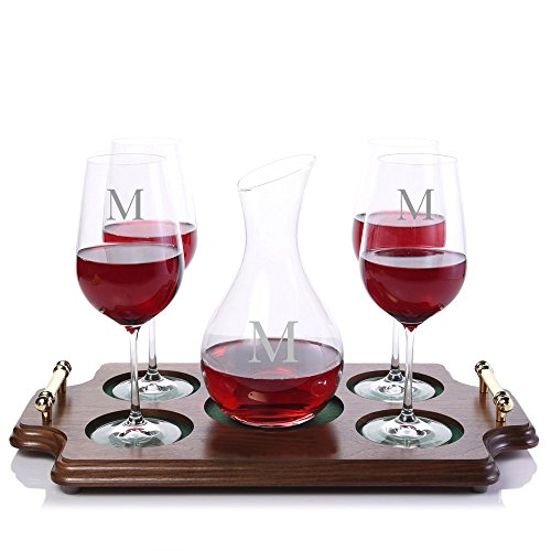 Custom-Calloway-Wine-Decanter-Stemmed-Wood-Tray-Set-by-Crystalize-Engraved-Monogrammed