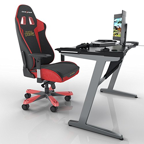 Leoneva Racing Table E-sports Gaming Desk Ergonomic Comfortable Z-Shaped Computer Desk Table With LED Ambience Lighting, 48.3 x 25.8 x 29.9inch (US Stock, Black) by Leoneva (Image #2)