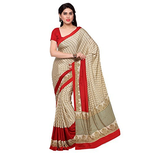 Kvsfab New Attractiv Women's Crepe Silk Saree With Printed Work Free Size Beige (Crepe Silk Saree)