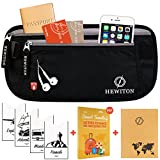 Hewiton Premium Travel Belt with Multiple Zippered Waterproof RFID Protected Pockets (BONUS: 4 RFID Card Sleeves & A6 Sized Notebook)