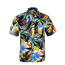 APTRO Men's Colorful Floral Printing Short Sleeved Summer Beach Shirt