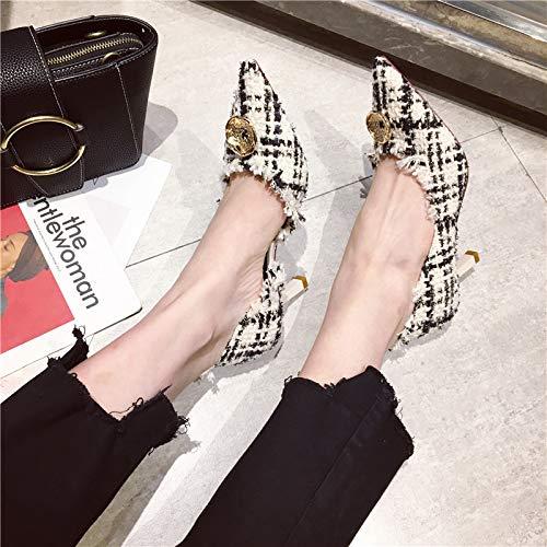 Yukun zapatos de tacón alto Zapatos De Tacón Alto Zapatos De Mujer con Zapatos De Mujer Zapatos De Tacón Alto Puntiagudos De Boca Baja Silvestre De Principios De Otoño Creamy-White