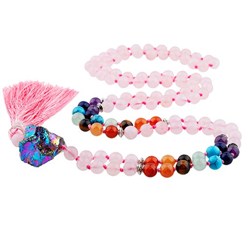 TUMBEELLUWA Prayer Beads Stone Necklace for Women Chakra Stone Meditation Reiki Balancing,Rose Quartz(with Titanium Coated Crystal)