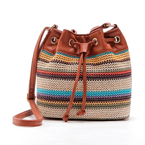 Outtop Drawstring Weave Messenger Bag Cross Body Hobo Handbag Tote Shoulder Bags for Women Girl (Brown)