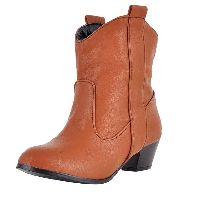Viernes Negro JiaMeng Zapatos de tacón Alto Botas de Cuero para Mujer con Botines Impermeable Anti Deslizante Zapatos: Amazon.es: Ropa y accesorios