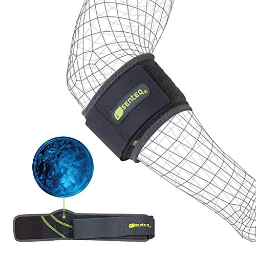 SENTEQ Elbow Brace Support Strap - Tennis & Golfer's Elbow Strap Band. Relieves Tendonitis and Forearm Pain. Dual Layers Compression with GEL Pad & Wide Adjustable Strap (SQ1 H009) by SENTEQ