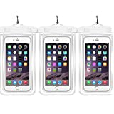 """Waterproof Case Universal CellPhone Dry Bag Pouch CaseHQ for Apple iPhone 6S, 6, 6S Plus, SE, 5S, Samsung Galaxy S7, S6, HTC LG Sony Nokia Motorola up to 5.7""""-3pack"""