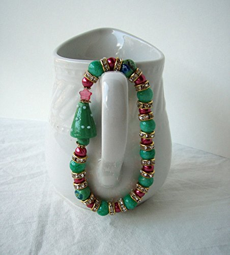Christmas Tree Stretch Bracelet Rose Pink Green Lampwork Glass & Rhinestones