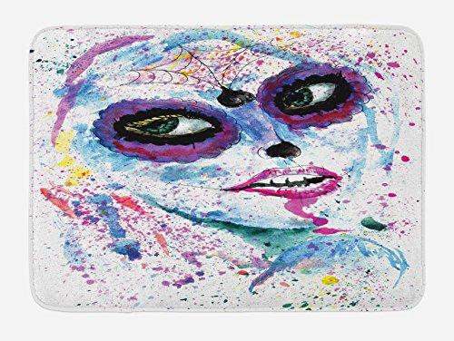 Ambesonne Girls Bath Mat, Grunge Halloween Lady with Sugar Skull Make Up Creepy Dead Face Gothic Woman Artsy, Plush Bathroom Decor Mat with Non Slip Backing, 29.5 W X 17.5 (Creepy Halloween Makeup Ideas For Women)