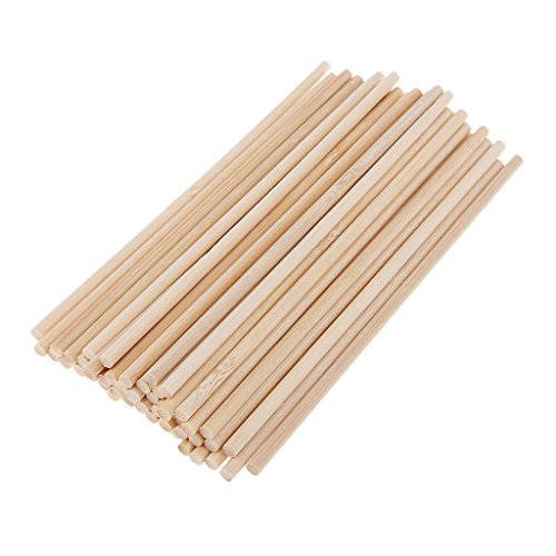Homyl 50 Pieces 150mm Round Natural Bamboo Wooden Lollipop Lolly Sticks Dowel Rod For Model Making Woodcraft Woodworking DIY Craft