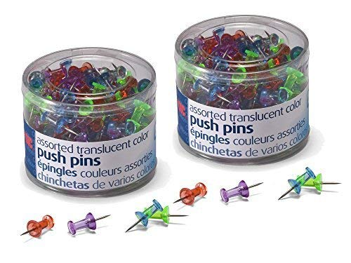 2 Pack of 200 Officemate Assorted Translucent Colors Push Pins Bundled by Maven Gifts