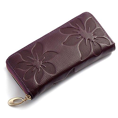 with Case Clutch Organizer Purse Slot Long Card floral Holder Clip Purple Checkbook Women Welegant Wallet Zipper Money amp; vwqE4fz