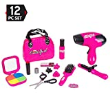 #9: Big Mo's Toys Kids Beauty Salon Set, Stylish Girls Beauty Fashion Pretend Play Toy with Cosmetic Bag, Hairdryer, Curling Iron, Blush Pallet with Mirror, Lipstick & Styling Accessories, 12 Piece Set