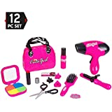 Big Mo's Toys Kids Beauty Salon Set, Stylish Girls Beauty Fashion Pretend Play Toy with Cosmetic Bag, Hairdryer, Curling Iron, Blush Pallet with Mirror, Lipstick & Styling Accessories, 12 Piece Set