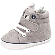 Iuhan Cotton Baby Girl Boys Fox Hight Cut Shoes Anti-slip Infant Soft Sole Sneaker (Age:6~12 Month, Gray)