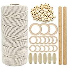 Ewpatys 3mm 109 Yard Macrame Cotton Cord Twisted Cotton Rope +3 Size 15 PCS Unfinished Solid Wooden Ring for Handmade Teether and Macrame Wooden Teething Ring +Wooden Beads