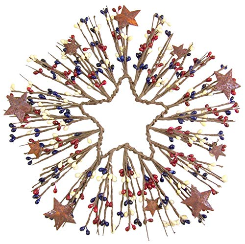 (Patriotic Red, White, and Blue Star Center Twig Wreath, 12 Inch)