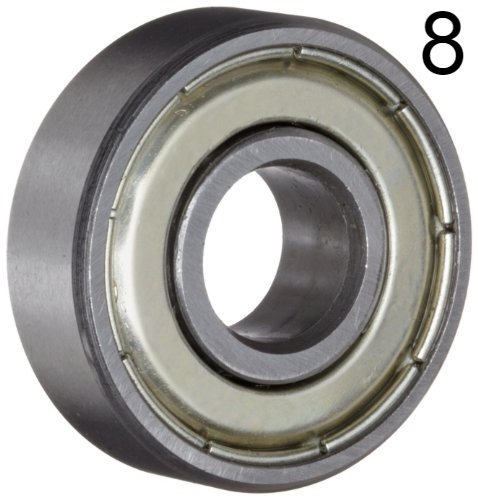Eight (8) 608ZZ 8x22x7 Shielded Greased Miniature Ball Bearings ()
